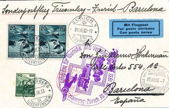 Switzerland 1933, St. Gallen-Barcelona, congress for tourism, FL franking, with arrival postmark.  Dealer Honegger Michael Auction  Auction Minimum Bid: 120.00CHF