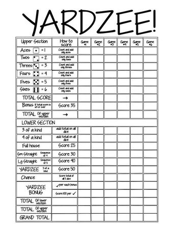 graphic relating to Yardzee Score Card Printable Free named Yardzee Yahtzee Ranking Sheet Scorecard Double-Sided Dry Generation