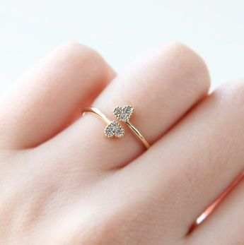 Double Heart Ring Dainty Ring Adjustable Ring BFF by petitformal, $10.00