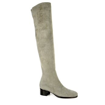 de4ea29433b Grey Mid Heel Over-The-Knee Boots - Evelina - Click to view a