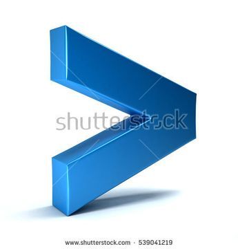 Greater Than Math Symbol. 3D Rendering Illustration