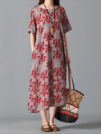 Robe vintage pas cher - Robe imprimée à manches courtes et à fleurs - NewChic Mobile