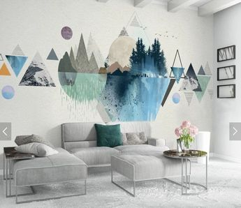 Simple Geometric Mountains Geometric Wallpaper Wall Mural