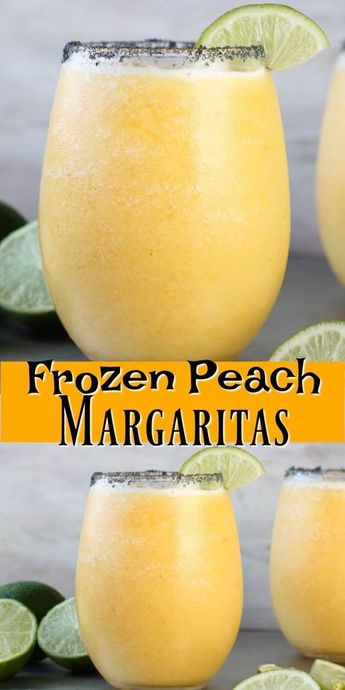 Frozen Peach Margaritas Cocktail Recipe perfect for parties and celebrations #margaritas #tequila #partydrinks #peaches #cocktails #frozencocktails
