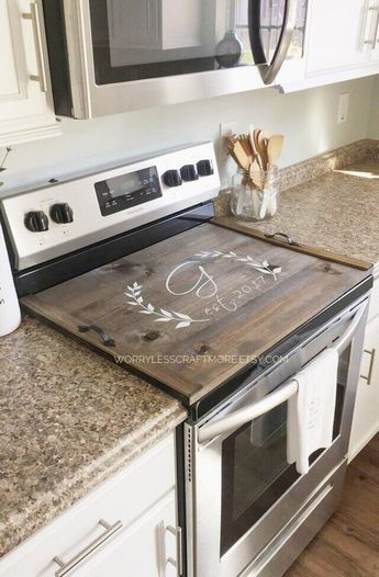 Stove Top Cover, Custom Wooden Stove Cover Personalized, Stove Cover, Wooden Tray For Stove Top, Stove Cover Tray, Wood Stove Tray, Initial