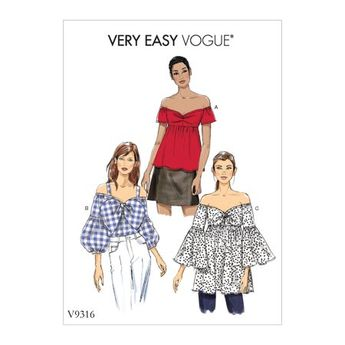 Vogue Patterns Sewing Pattern Misses' Top-6-8-10-12-14, White