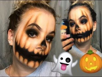 PUMPKIN FACE// HALLOWEEN MAKEUP TUTORIAL - YouTube