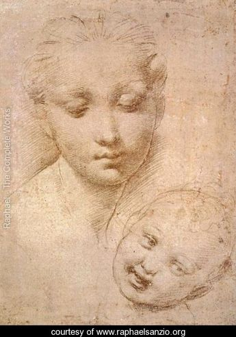 Raphael, Study of Heads, Mother and Child.