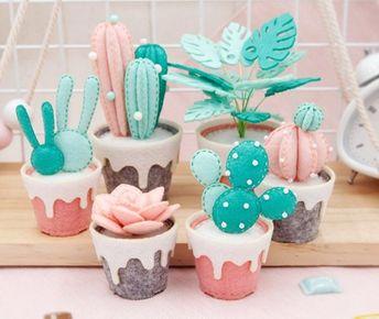 Fieltro planta suculenta DIY kit, pre-CUT fieltro cactus kit DIY, plantas de fieltro hechas a mano