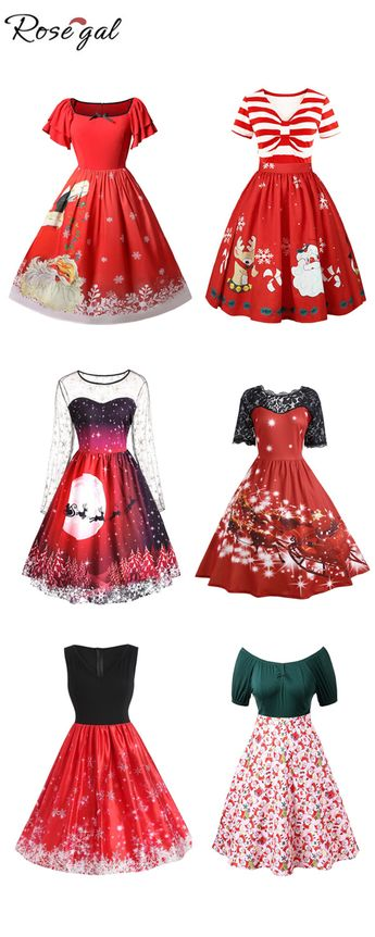 50% remise des robes vintages pour Noël, livraison gratuite dès 39€ #Rosegal# robe#Noël # mode