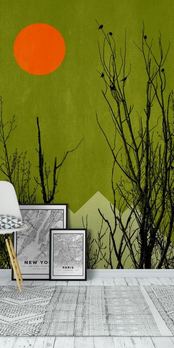 Black Forrest Trees Wall Mural / Wallpaper Abstract