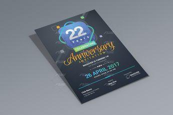 Anniversary Invitation Design with Multiple Colors - Graphic Design Templates