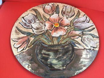 Keramik Wandplatte Wandbild Blumen Vintage WGP 36 cm 70iger Jahre