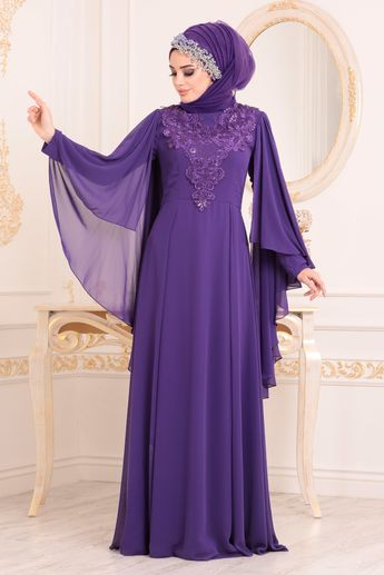 07579336420cb Tesettürlü Abiye Elbise - Önü Dantelli Pelerinli Mor Tesettür Abiye Elbise  20421MOR