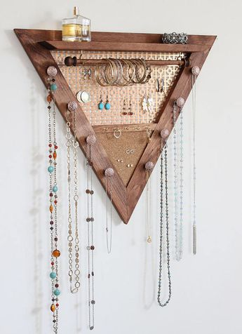 Triangle Jewelry Organizer - Wooden Wall Hanging Jewelry Organizer