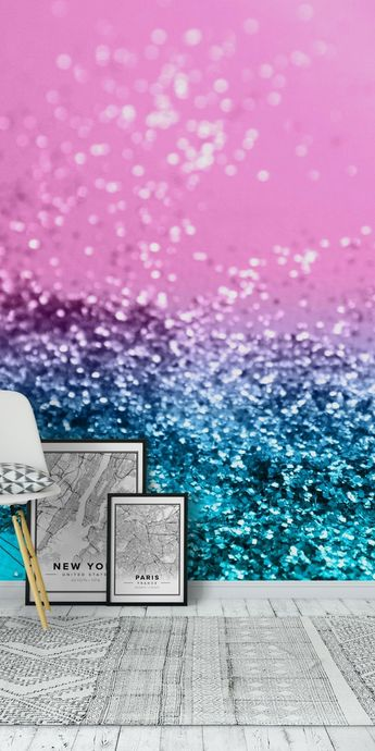 Tropical Beach Lady Glitter 1 Wall Mural / Wallpaper Abstract