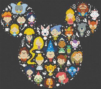 Disney Cross Stitch Pattern, Disney Mickey cross stitch pattern Chart ,Needlecraft Needlework PDF Instant Download,S095