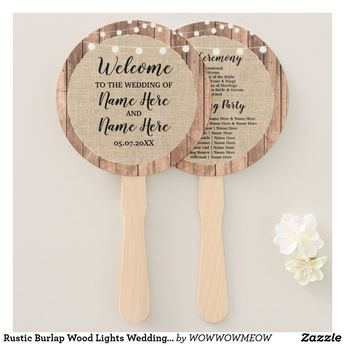 Rustic Burlap Wood Lights Wedding Programme Fan | Zazzle.com
