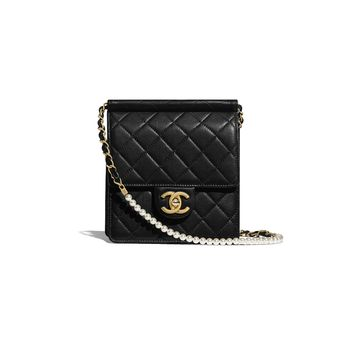 a0ac0b03c Lambskin, Imitation Pearls & Gold-Tone Metal Black Flap Bag