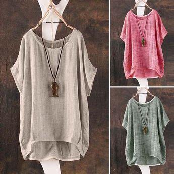 Details about Women Summer T-Shirt Casual Plain Loose Blouse Shirt Batwing Asymmetrical Tops