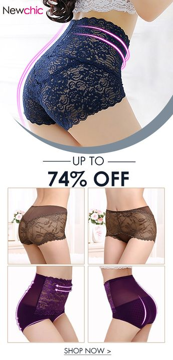 High Waisted Lace Cotton Crotch Tummy Shaping Butt Lifter Panty