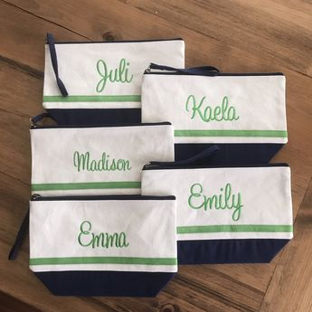 Nautical Blue Makeup Bag Large Monogram Zipper Pouch Personalized Cosmetic Bag Bridesmaids Gifts Personalized Bags