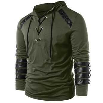 Kenancy Brand Designer Men Lace Up Faux Leather Hoodies Solid Long Sleevesdresslliy