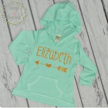 8d4a673cfe68d Hipster Baby Clothes Baby Girl Clothes Personalized Name Shirt Hoodie Gold  Glitter Arrow Custom Toddler Hipster
