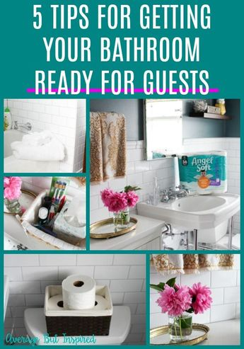 SO helpful! Read this post to get five tips for getting your bathroom guest ready! No stress, no fuss - it's easy to have a great guest bathroom! #hostingguests #cleaningtips