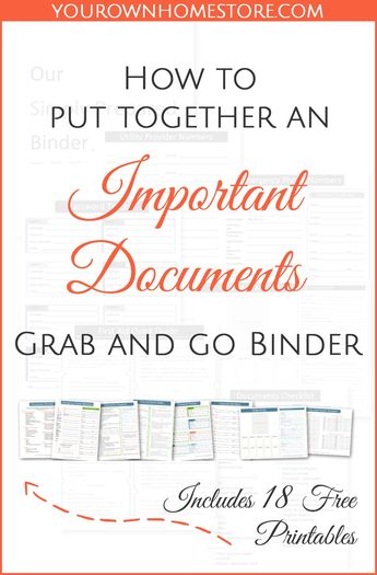 Documents for Emergencies | Evacuation | Put Together a Complete Important Documents Binder for your family | Emergency Document Binder Free Printable | Grab and Go Documents