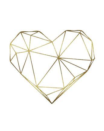 Gold Foil Geometric Art Heart Digital Print, Scandinavian Art, Faux Gold Wall Decoration, Printable Wall Art