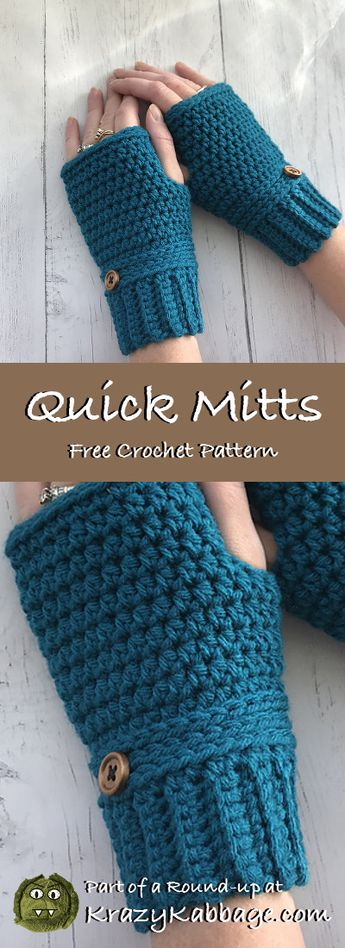 Crochet Mittens Free Patterns – Krazy Kabbage #mitten #glove #fingerless #free #crochet #pattern #quick #easy #simple #winter #style #fashion #women #gift #make #diy