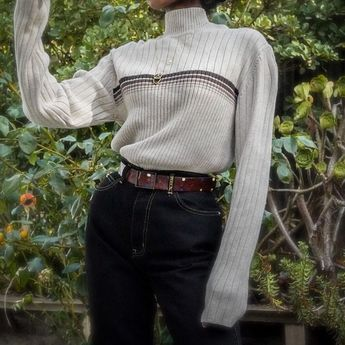 SOLD 90s CK Jeans mock neck, ribbed knit cotton sweater for a size M. Please DM...- Hélo