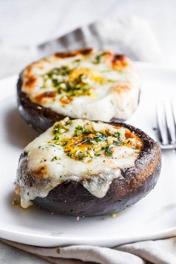 Cheesy Stuffed Portobello Mushrooms with Garlic Butter Sauce