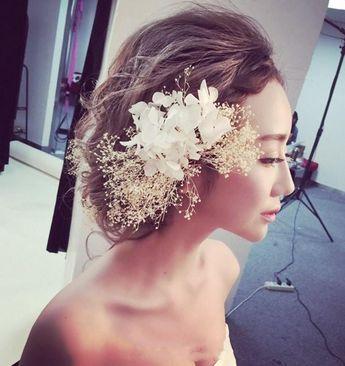 handmade bridal pearl flower gold hair band