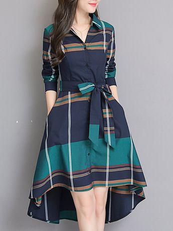 Fold-Over Collar Plaid Skater Dress Only 31.81 - Cathybuy.com