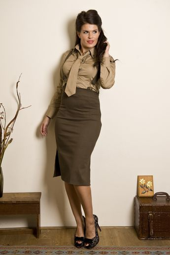Collectif Clothing - Collectif Clothing - Soldier Heidi Braces pencil skirt olive green
