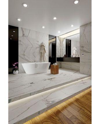 "Calacatta Royal 18"" x 36"" Porcelain Field Tile in White/Gray"