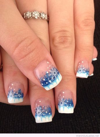 White and blue Christmas nails