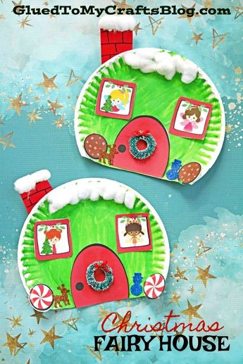 Paper Plate Christmas Fairy House - Kid Craft