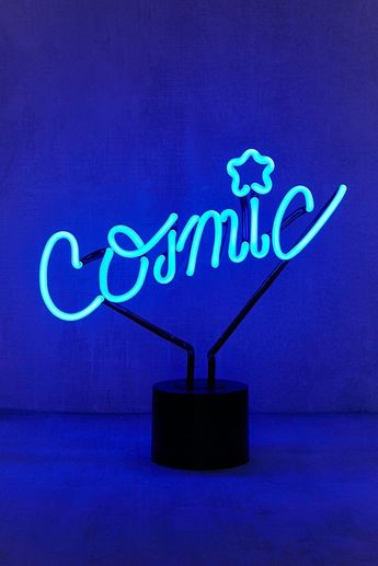 Lampe de table avec enseigne néon cosmique