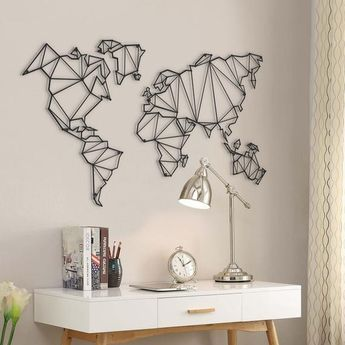 Metal World Map Art Board Large Size Freeshipping Metal Wall Decor Black Color 100 x 60 cm Metal Wal