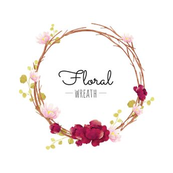 Flower Wreath, Wreath, Burgundy, Blooming PNG and Vector with Transparent Background for Free Download