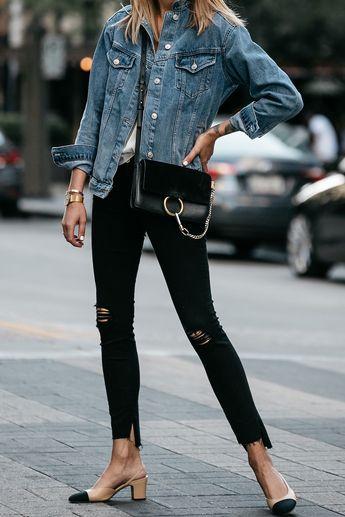 fb8910eb Topshop Denim Jacket Chloe Faye Handbag Frame Black Ripped Skinny Jeans  Chanel Slingbacks Fashion Jackson Dallas