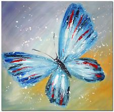 Signed Handpainted Modern Abstract BLUE BUTTERFLY Oil Painting Impressionist Art