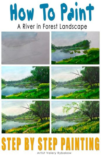 You can easily learn how to draw Russian river in forest on canvas with acrylic paint! This drawing lesson will help you to repeat step by step on the video a beautiful Russian nature — a summer landscape on canvas.   #Russianlandscape, #sealandscape, #riverinforest, #russianforest, #russianriver, #howtopaintriver, #howtopaintlandscape, #acrylicpainting, #masterclassacrylic, #masterclassforbeginners, #valeryrybakow, #painteasily, #painttogether, #Acrylic, #tutorial, #forbeginners