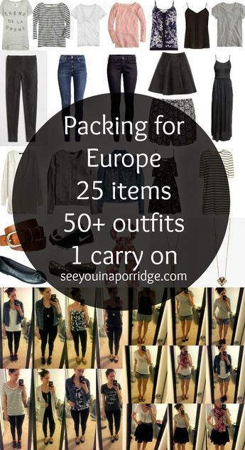 (practice) packing for Europe: 25 items = 50+ outfits