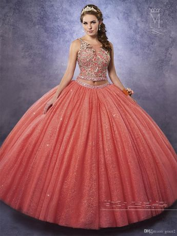 158c557a238 2 Pieces Quinceanera Dresses 2017 New with Free Bolero and Sexy Back  Sparking Tulle Ball-