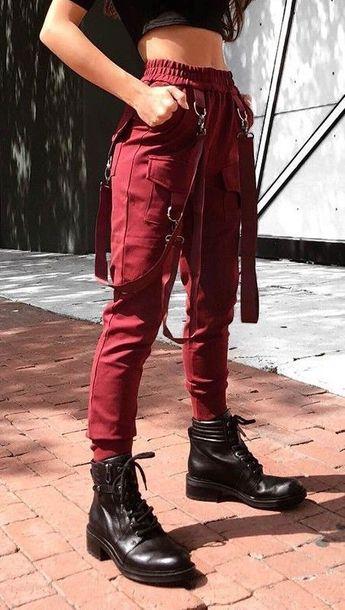 High Waist Cargo Pants with Belts