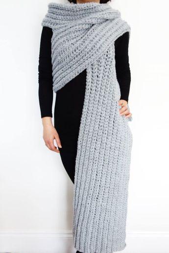 Wrap Crochet Pattern - Zendeya Inspired Wrap/Oversized Bulky Scarf/Super Chunky Poncho/Jumbo Ribbed Shawl